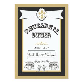 """Oro del negro de la cena del ensayo del boda de invitación 5"""" x 7"""""""