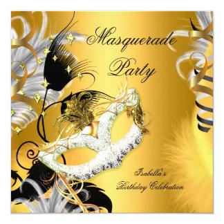 """Oro del negro de la máscara del cumpleaños del invitación 5.25"""" x 5.25"""""""