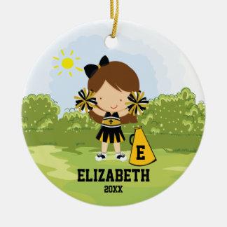 Oro del negro del ornamento del navidad del chica adorno redondo de cerámica