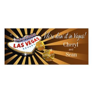 """Oro del negro del topaz del boda de Las Vegas Invitación 4"""" X 9.25"""""""