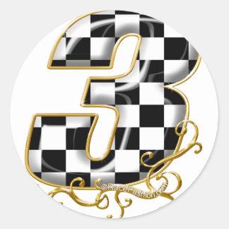 oro del número 3 el competir con auto etiquetas redondas