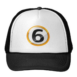Oro del número 6 gorras de camionero