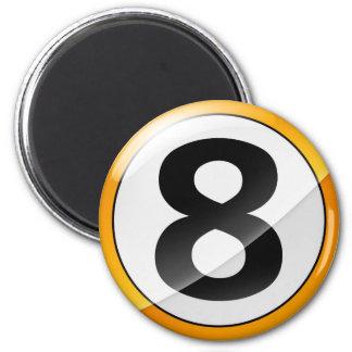 oro del número 8 imán redondo 5 cm