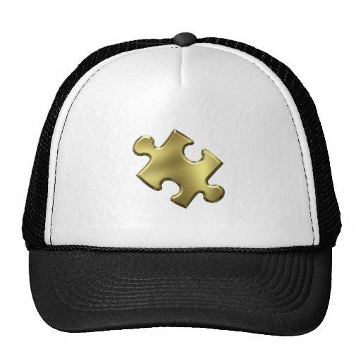 Oro del pedazo del rompecabezas del autismo gorros