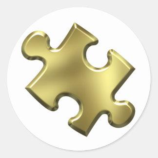 Oro del pedazo del rompecabezas del autismo pegatina redonda