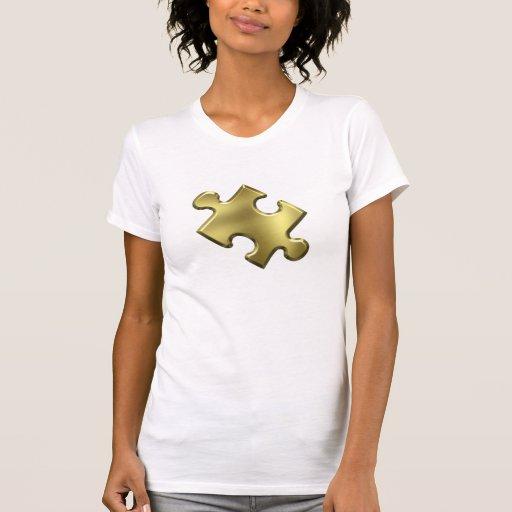 Oro del pedazo del rompecabezas del autismo poleras