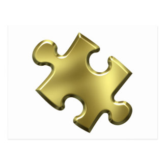 Oro del pedazo del rompecabezas del autismo tarjetas postales