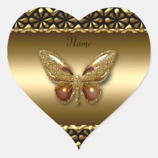 Oro del pegatina del corazón en mariposa del oro