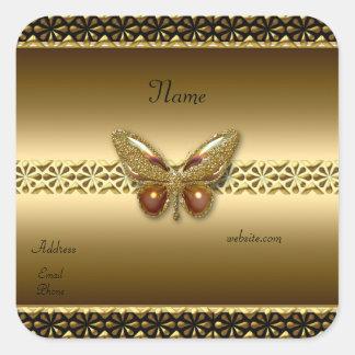 Oro del pegatina en el cuadrado 2 de la mariposa