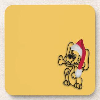 Oro del perro del navidad posavasos de bebidas