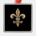 Oro del personalizar de Flor New Orleans de la Adorno Navideño Cuadrado De Metal