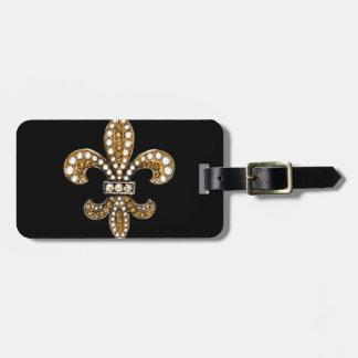 Oro del personalizar de Flor New Orleans de la flo Etiqueta De Maleta
