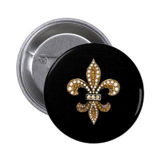 Oro del personalizar de Flor New Orleans de la flo Pin Redondo De 2 Pulgadas