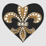 Oro del personalizar de Flor New Orleans de la Pegatina En Forma De Corazón