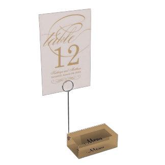 Oro del portatarjetas de la tabla soportes de tarjeta de mesa