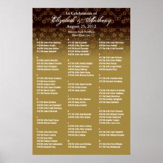 Oro del poster de la carta del asiento del boda fl
