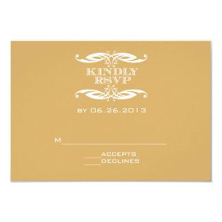 Oro del remolino del vintage que casa la tarjeta invitación 8,9 x 12,7 cm