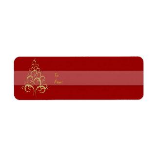 Oro del rojo de la etiqueta del regalo del árbol d etiqueta de remitente