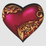 Oro del rojo de la voluta del corazón pegatina corazon