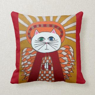 Oro del rojo del ángel del gato de la almohada del cojín decorativo