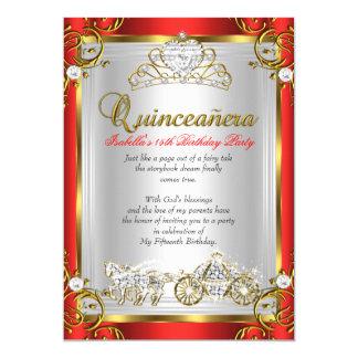 """Oro del rojo del cumpleaños de Quinceanera del Invitación 5"""" X 7"""""""