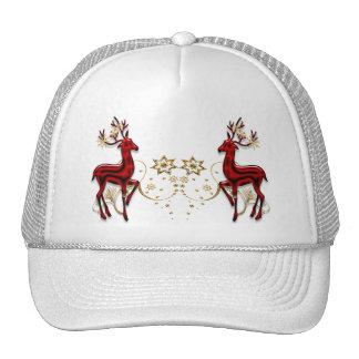 Oro del rojo del navidad del reno gorros