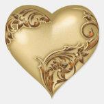 Oro del rojo del oro w de la voluta del corazón calcomania corazon personalizadas