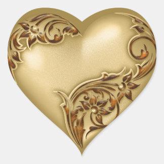Oro del rojo del oro w de la voluta del corazón pegatina en forma de corazón
