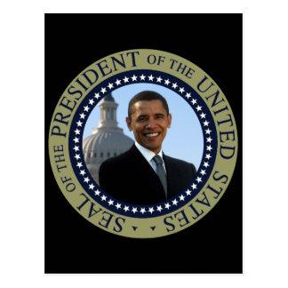 Oro del sello de Obama Postales