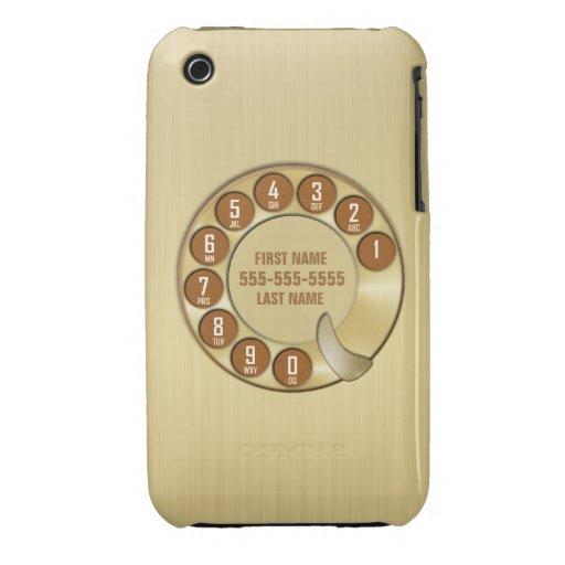 Oro del teléfono de dial rotatorio de la escuela v Case-Mate iPhone 3 cárcasas