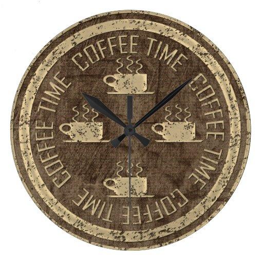 Oro del tiempo del café en Brown Reloj Redondo Grande