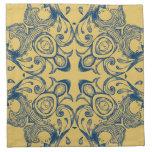 Oro del Victorian del vintage y modelo azul del fo Servilletas De Papel
