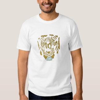 Oro/diseño blanco del tigre remeras