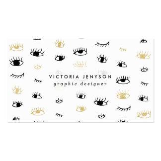 Oro divertido de la moda y modelo de ojos lindo tarjetas de visita