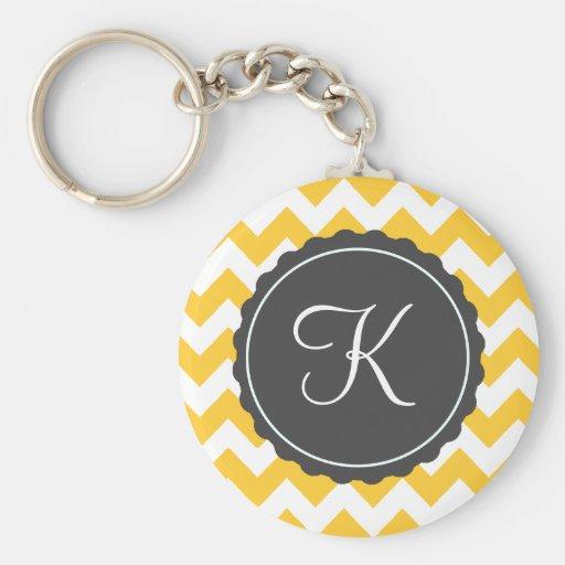 Oro e inicial gris del personalizado del zigzag llaveros personalizados