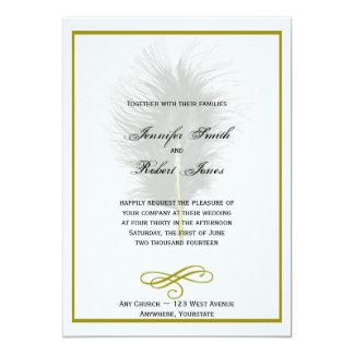 Oro e invitación blanca del boda de la pluma del invitación 12,7 x 17,8 cm