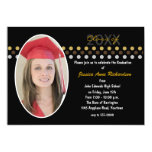 Oro e invitación negra de la fiesta de graduación