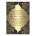Oro e invitación negra del boda del cordón