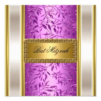 Oro e invitación púrpura de Mitzvah del palo del