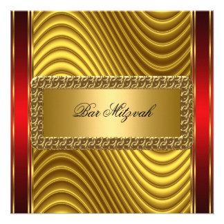 Oro e invitación roja de Mitzvah de la barra del a