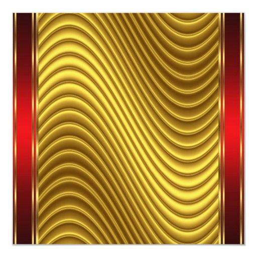 Oro e invitación roja del art déco