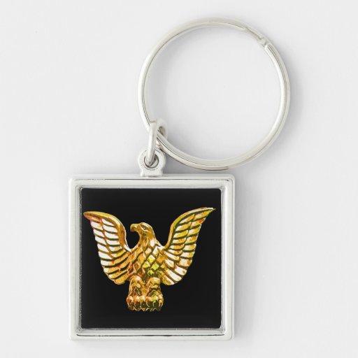 Oro, Eagle de oro en fondo negro Llaveros