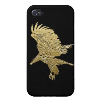 Oro-efecto metálico Eagle sobre el negro i iPhone 4 Cobertura