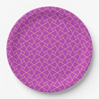 Oro-efecto, placas de papel del modelo islámico plato de papel de 9 pulgadas