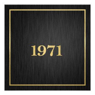 Oro elegante 1971 invitacion personalizada