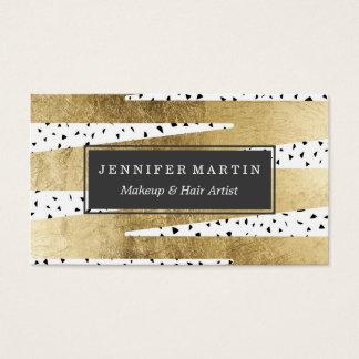 Oro elegante artístico y zigzag y extracto negros tarjeta de negocios
