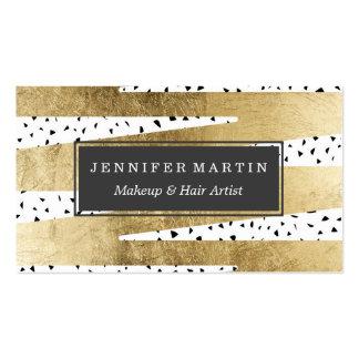 Oro elegante artístico y zigzag y extracto negros tarjetas de visita