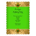 Oro elegante B del damasco de la cal del verde de  Invitación Personalizada