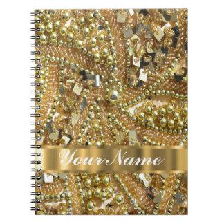 Oro elegante bling libretas