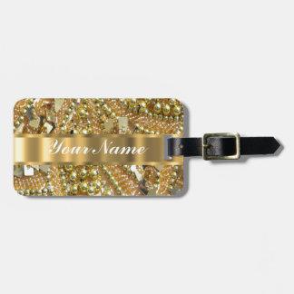 Oro elegante bling etiqueta de equipaje